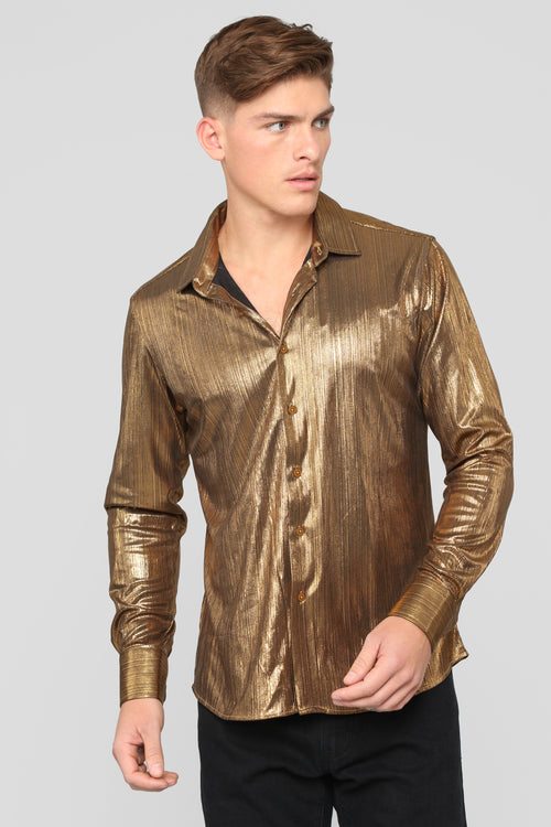 Rhett Long Sleeve Woven Top - Gold