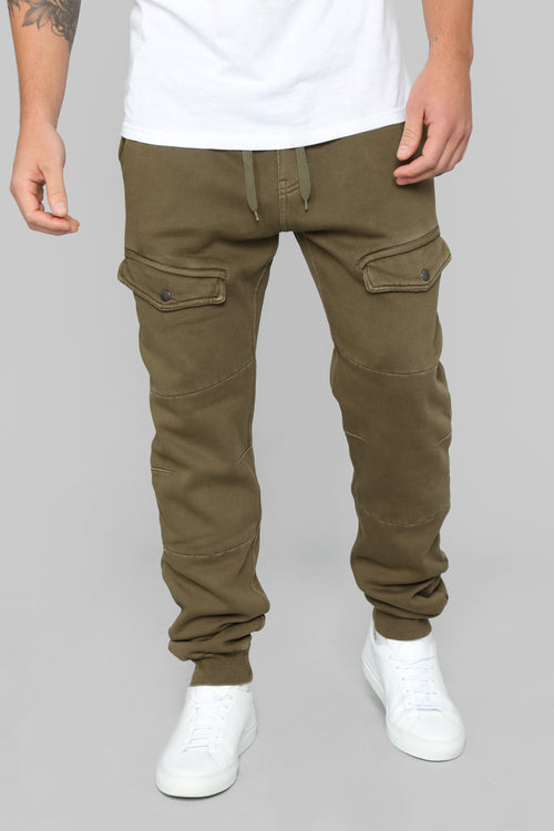 No Way Out French Terry Joggers - Olive