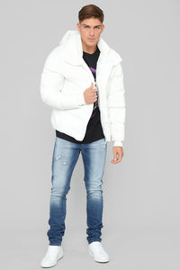 Classic Puffer Jacket - White Angle 3