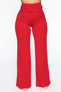 Tabitha Belted Pants - Dark Red