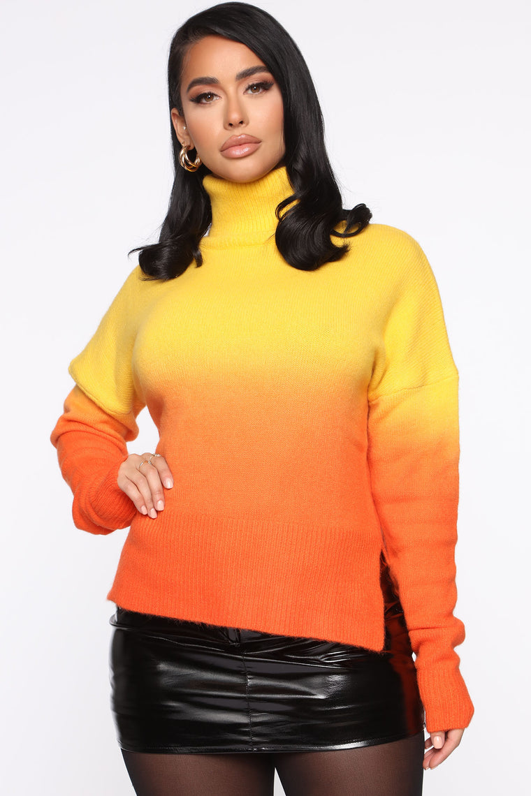 Beyond The Horizon Turtleneck Sweater   Yellow/Combo by Fashion Nova