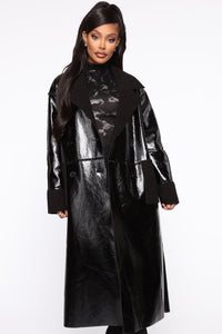 Longing For You PU Leather Coat - Black Angle 2