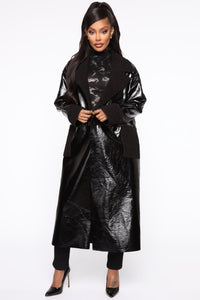 Longing For You PU Leather Coat - Black Angle 1