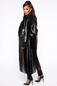 Longing For You PU Leather Coat - Black Angle 3