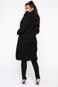 All About Me Fuzzy Coat - Black Angle 4