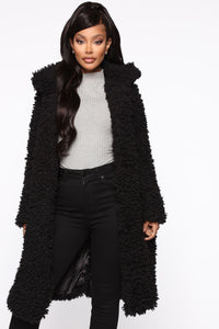 All About Me Fuzzy Coat - Black Angle 2