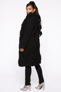All About Me Fuzzy Coat - Black Angle 3