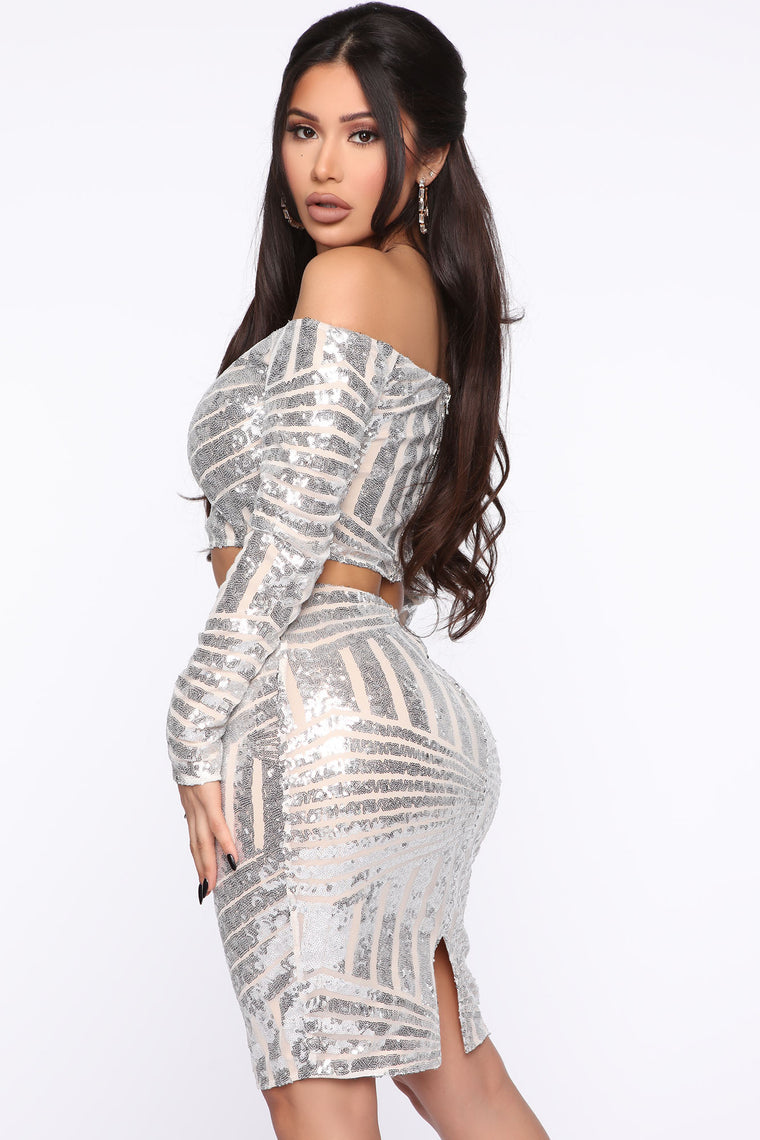 Star Of The Night Sequin Skirt Set - Silver