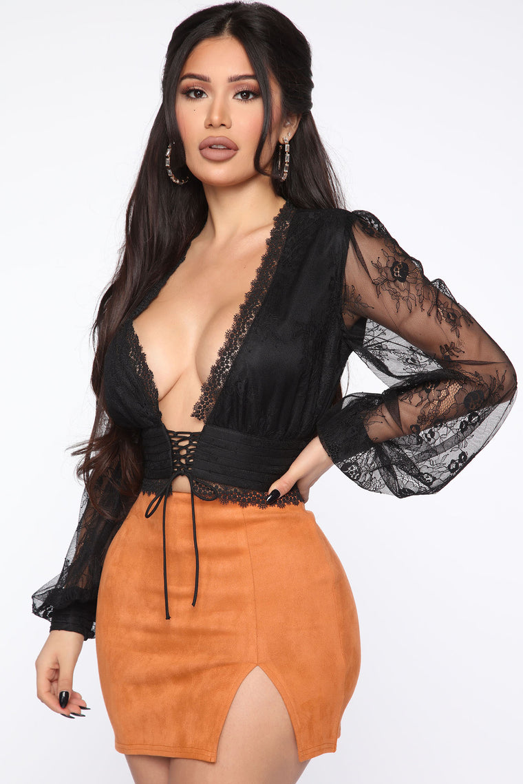 After Hours Only Lace Top - Black