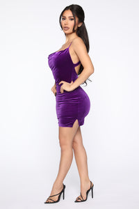 Baby Back Velvet Mini Dress - Purple