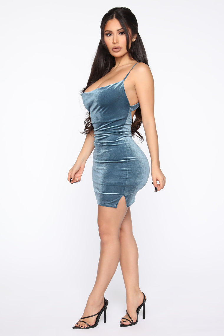 Baby Back Velvet Mini Dress - Jade