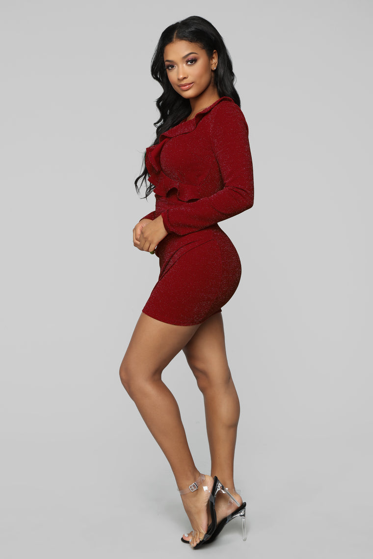 Time For A Cocktail Mini Dress - Red