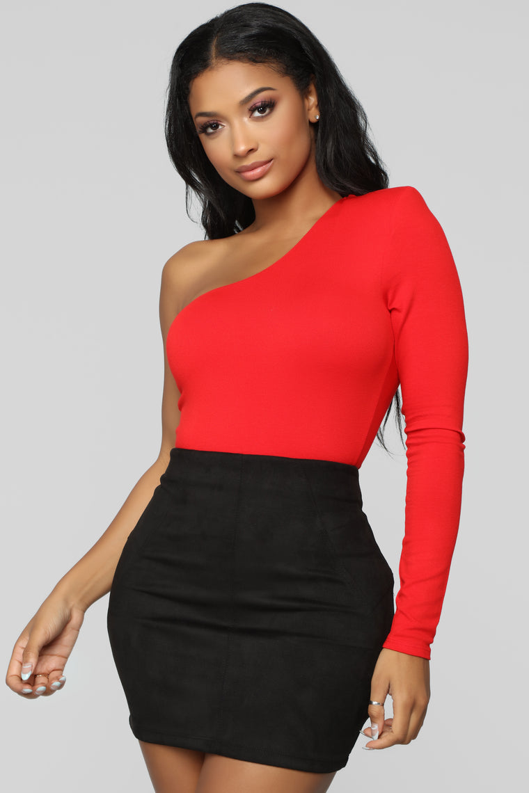 Simply Fabulous One Shoulder Bodysuit - Red