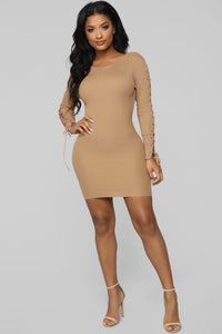 Layne Lace Up Dress - Camel