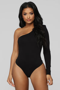 Simply Fabulous One Shoulder Bodysuit - Black