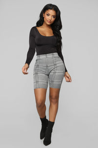 Do You Have A Clue Plaid Biker Shorts - Grey/Combo