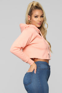 Gonna Make It Mine Cropped Hoodie - Coral