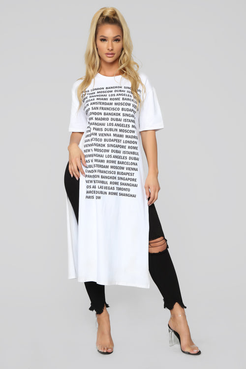 Been Around The World Maxi Top - White