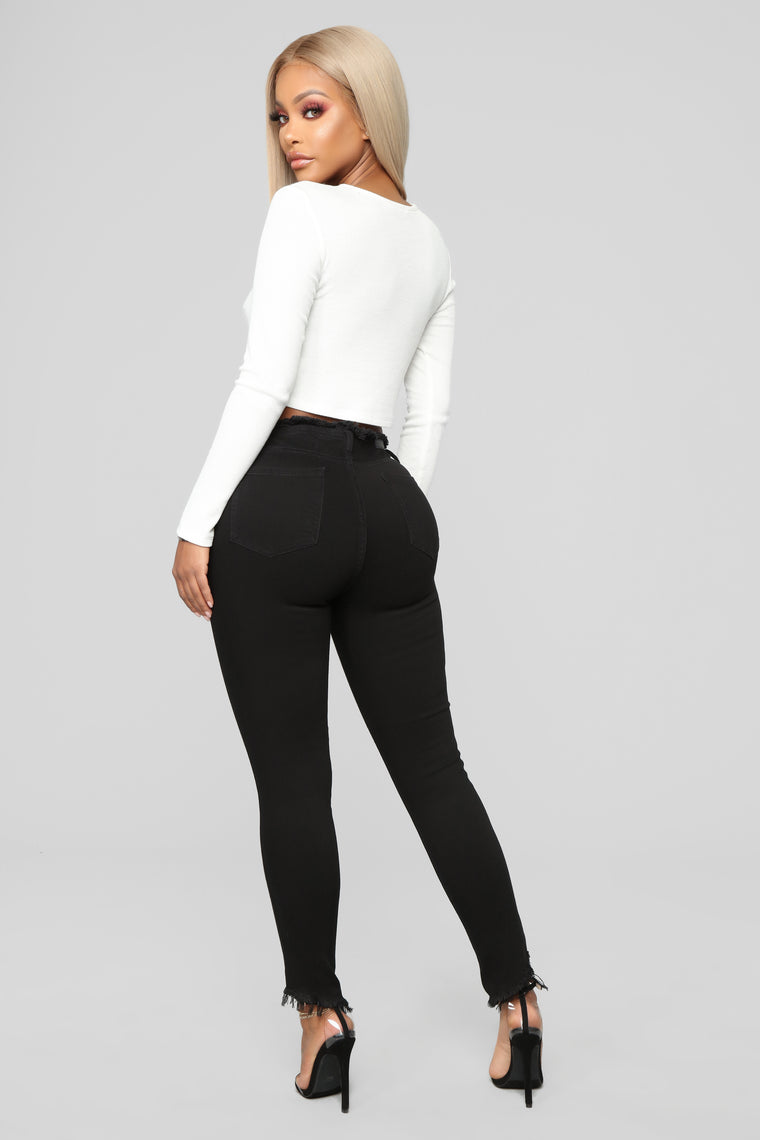 Pour It Up High Rise Jeans - Black