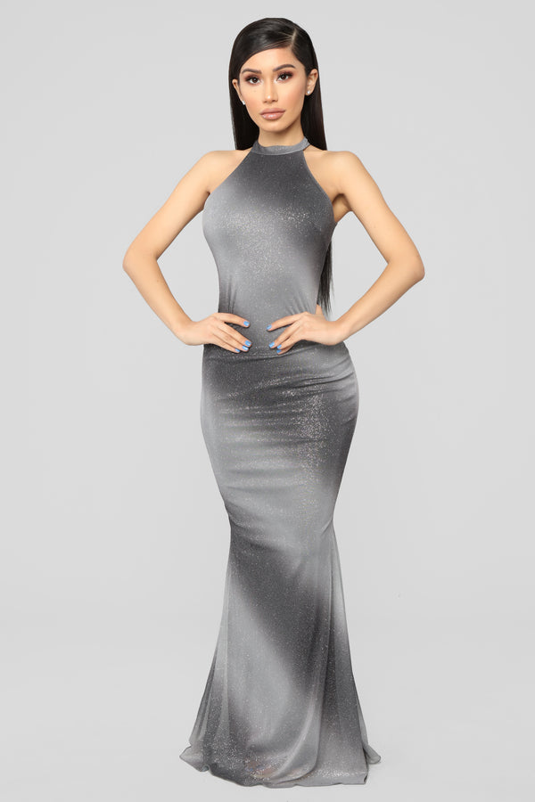 3744f31cf32 Just A Twinkle Maxi Dress - Silver Ombre