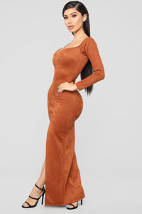 Suede My Way Maxi Dress - Camel