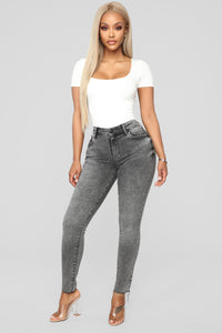 Take Me All The Way Ankle Jeans - Charcoal Angle 2