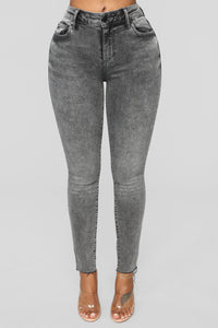 Take Me All The Way Ankle Jeans - Charcoal Angle 1