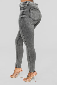 Take Me All The Way Ankle Jeans - Charcoal Angle 4