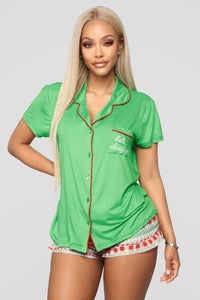 Let's Sleep In PJ Set - Green