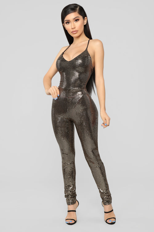 f9b4caeebba Caylee Sequin Jumpsuit - Gold