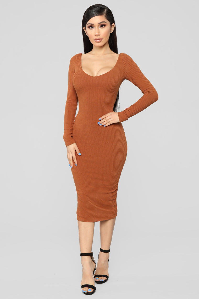 Set Him Straight Ribbed Midi Dress - Cognac