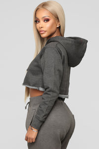 Gonna Make It Mine Cropped Hoodie - Charcoal