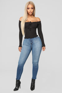 Breanna Lace Up Top - Black
