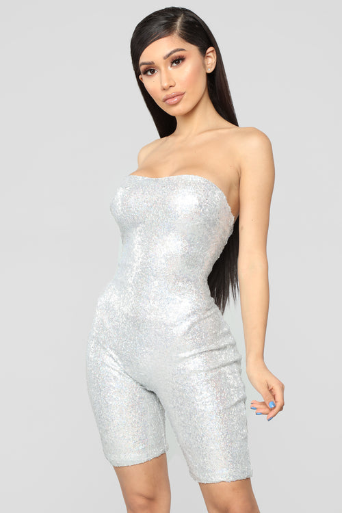 Birthday Bash Sequin Romper - Hologram