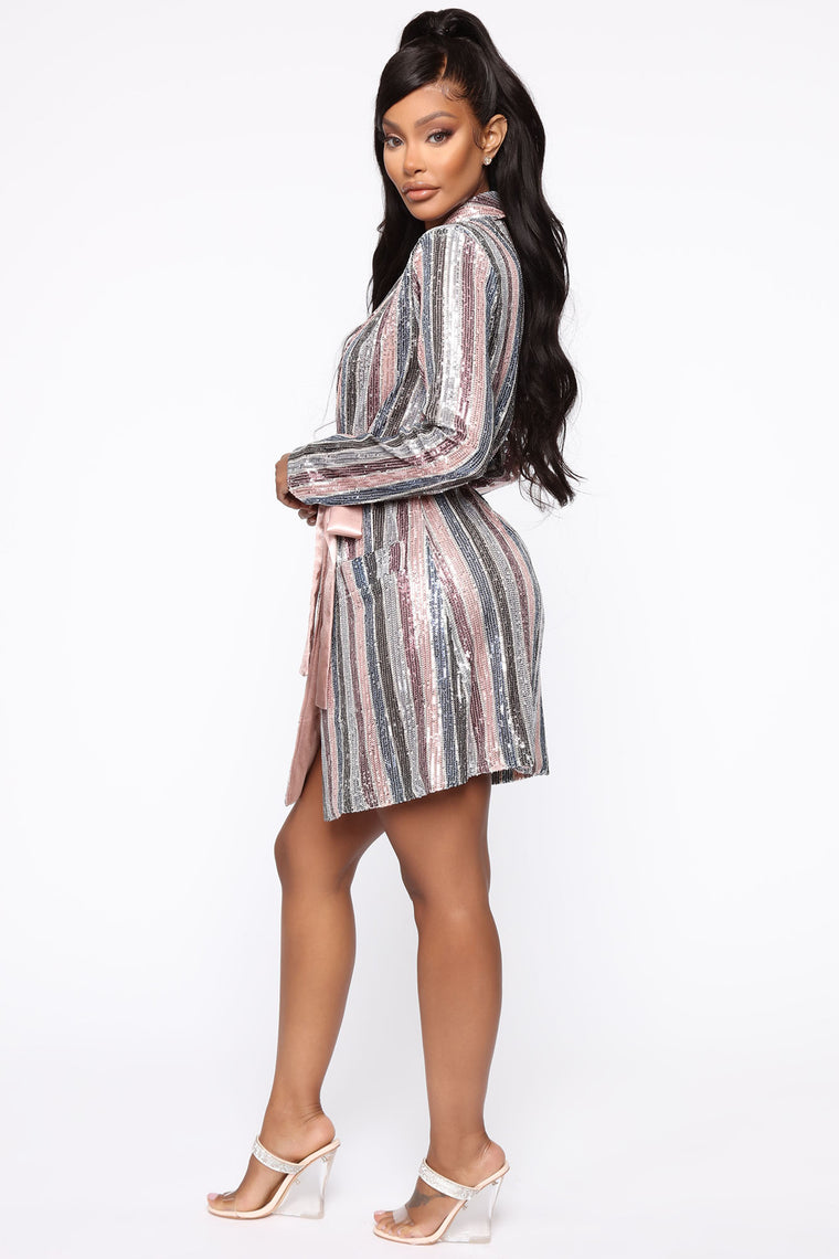Holding You Forever Sequin Mini Dress - Pink/Multi