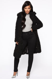 All About Me Fuzzy Coat - Black Angle 1