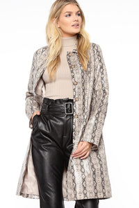 Lizzie Snakeskin Faux Leather Trench - Brown/combo Angle 2