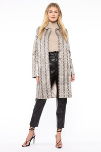 Lizzie Snakeskin Faux Leather Trench - Brown/combo Angle 3
