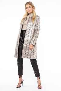 Lizzie Snakeskin Faux Leather Trench - Brown/combo Angle 4