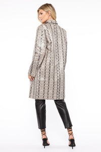 Lizzie Snakeskin Faux Leather Trench - Brown/combo Angle 5