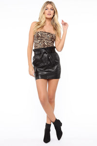 Erika Faux Leather Skirt - Black Angle 2
