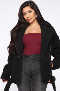 Bound To Make It Happen Teddy Jacket - Black Angle 1