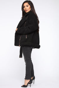 Bound To Make It Happen Teddy Jacket - Black Angle 4