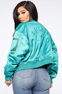 We Got A Good Thing Going Bomber Jacket - Green Angle 5