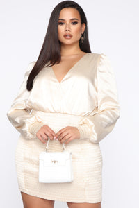 In Charge Satin Mini Dress - Ivory Angle 5