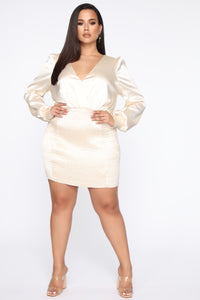 In Charge Satin Mini Dress - Ivory Angle 7