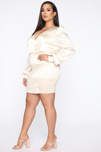 In Charge Satin Mini Dress - Ivory Angle 8