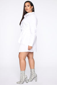 Friendship Ties Shirt Dress - White Angle 8