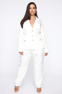 Work Hard Play Harder Utility Blazer - White Angle 7