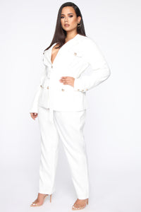 Work Hard Play Harder Utility Blazer - White Angle 8